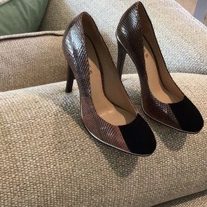 REISS pumps, snake print with suede black front,36